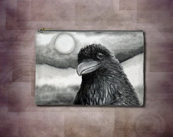 Cosmetic Bag Pouch Accessory for Purse Bird 64 Crow Raven Moon painting by Lucie Dumas