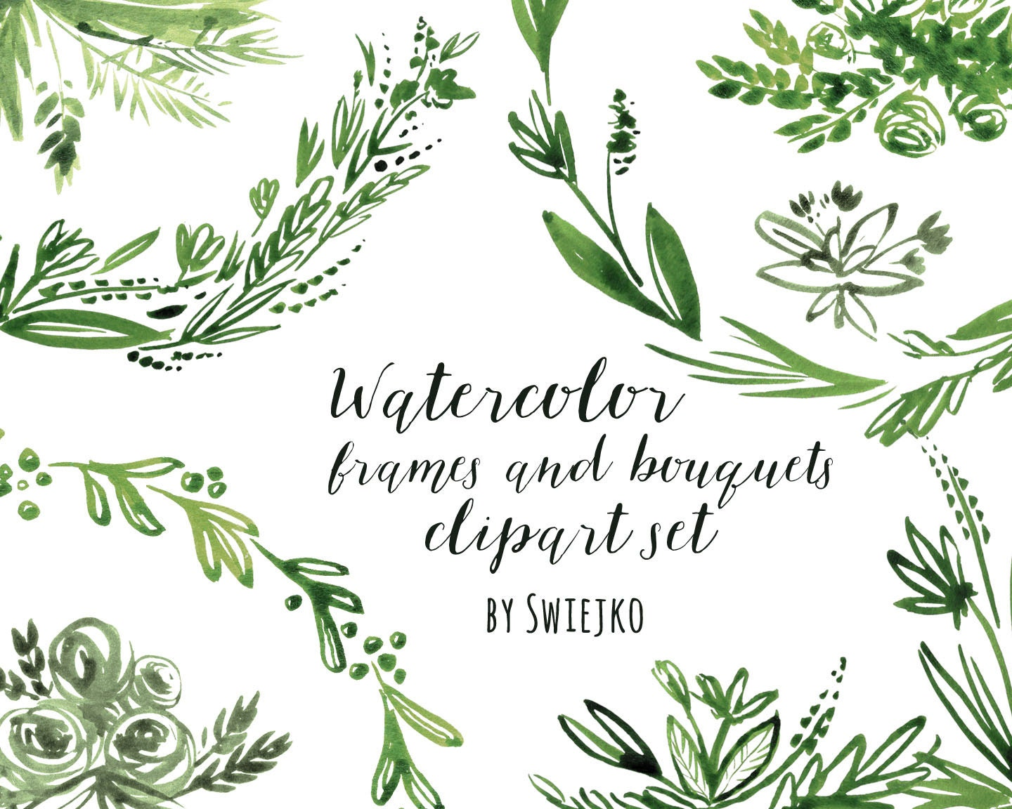 Digital Clipart Watercolor Flowers Floral Frame Hand Painted Bouquet Edges Corner Labels
