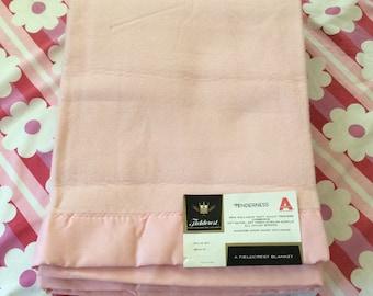 Vintage Fieldcrest Pink Twin Blanket New Old Stock