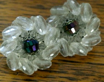 Vintage retro clip on ladies evening bridal earrings - clear beads around blue/purple lustre