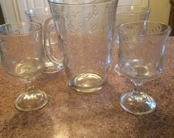Vtg pressed embossed A&H clear glass flora flower pitcher rose sterm