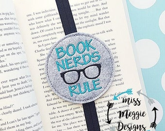 Book Nerds Rule Bookmark ITH Embroidery design file