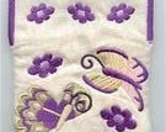 Butterflies and Flowers Embroidered Coin Purse
