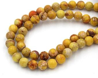 "Two 15.5"" strands Impression Jasper Beads, Dark Yellow 8mm"