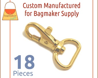 "3/4 Inch Trigger Style Snap Hooks Shiny Gold Finish, 18 Piece Package Purse Clips, Handbag Bag Making Hardware Supplies. .75"", SNP-AA138"
