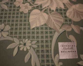 Imperial Wallpaper Sample Green Gray Floral