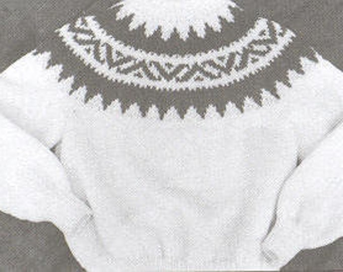 eweCanknit pattern 072-073: Fairisle yoke style sweater in child and youth pullover knitting pattern uses worsted weight yarn
