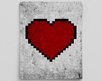8 Bit Heart Modern Love Print Nerd Love Video Game Science Art Gifts for Teachers Video Game Gifts Couple Gifts for Him Gifts for Her Nerdy