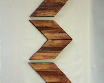 Chevron Arrows Rustic Wooden Cabin Decor (Set of 3)