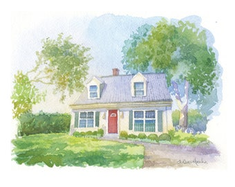 House painting from photo Custom watercolor house sketch Digital home illustration 1st Anniversary gift Closing gift Our First home