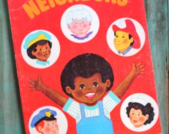 A Coloring Book About Neighbors, A Golden Book, 1970's Kids Book, Vintage Children's Book, Retro Collectible Book, Retro Coloring Book