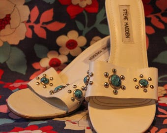 Steve Madden White Leather Open Toed Mules with Turquoise Accents