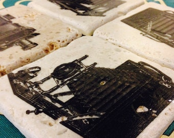 Antique Camera Tile Coasters - Set of 4 // antique // Victorian // Black & White // Large Format // Photograph / Bellows / Photograph