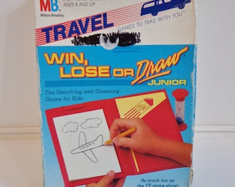 Vintage 1988 Travel Win Lose or Draw Junior Game Fun Retro Toy by Milton Bradley Collectible 80s Prop Toy Upcycle in Original Box