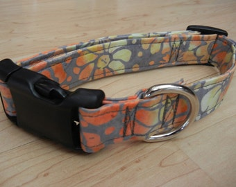 BATIK orange and gray DOG COLLAR flowers