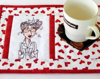 Nurse Mug Rug, Quilted Snack Mat, Red White, Medical Mug Mat, Gift for Nurse, Graduation Gift, Quiltsy Handmade