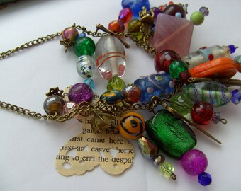 Bohemian, gypsy, Hippie, Indian glass, mix colour, glass necklace, by NewellsJewels on etsy