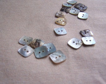 20pcs+ 12mm/ 0.5 inch Shell Square Buttons/ Mother of Pearl buttons