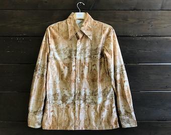 Vintage 70s Alphonse Mucha Print Metallic Button-Up Shirt