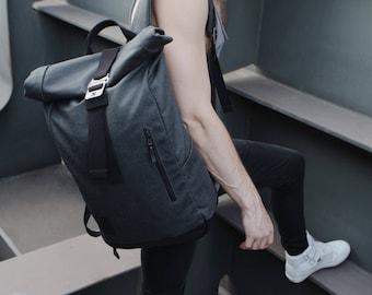 Roll Top Backpack, Roll Top, Backpack, Canvas Backpack, Mens Backpack, Leather Backpack, Hiking Backpack, Travel Backpack, Rucksack Rolltop