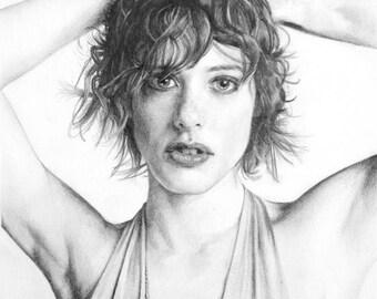 Portrait of Katherine Moennig made pencil graphite on paper