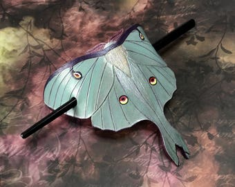 Tooled leather Luna moth hair barrette with stick - Artisan hair barrette - Original gift for her - Life like moon moth