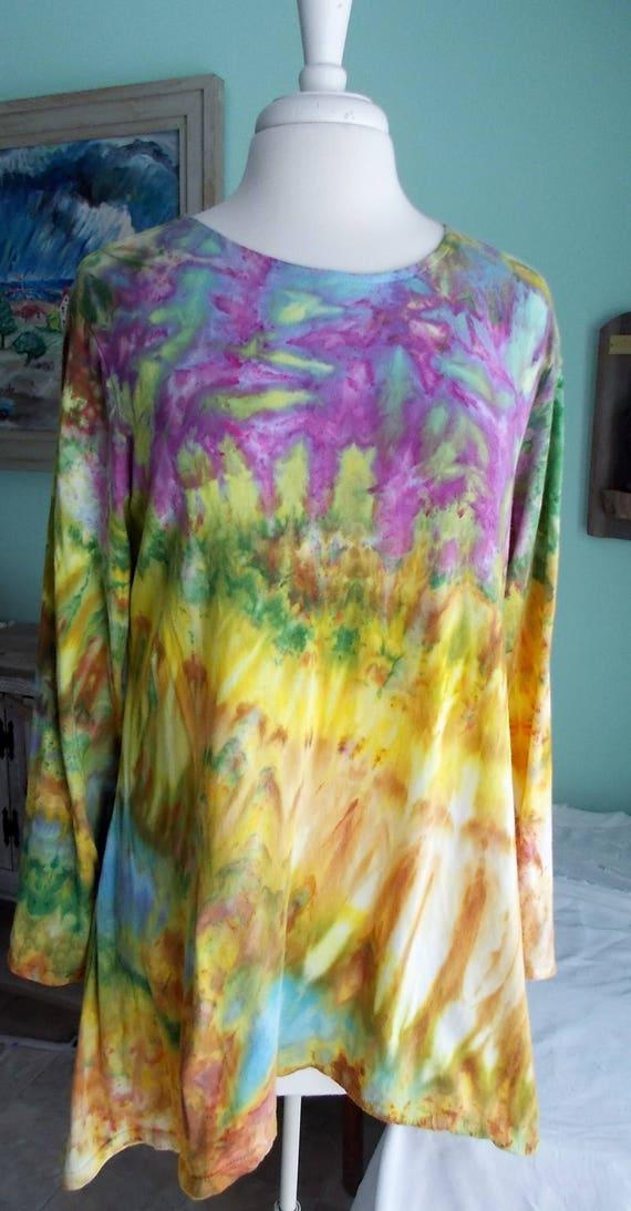 Hanky hem tunic Ice dye tie dye Women's  Long Sleeve Cotton Shirt