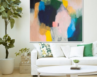 """Original abstract giclée Print of painting with beige,pink , yellow and blue.  large abstract print by Lola Donoghue """"Out of Her Loop 3"""""""