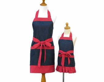 Mother & Daughter Denim Aprons, Mommy and Me Matching Denim Aprons, Personalized Mom and Daughter Denim Apron Set, Matching Denim Aprons