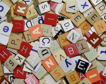 letter mix, 80 mixed letter tiles, bulk game pieces for scrapbooking, plastic, wooden and cardboard scrabble letters, word art