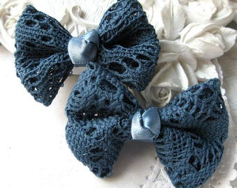 Lace bow with Teal satin ribbon