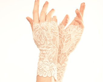 White Lace Gloves Wedding Gloves Lace Wedding Gloves Bridal Gloves Bridal Lace Mittens Elegant Gloves White Gloves Wedding Fingerless Gloves