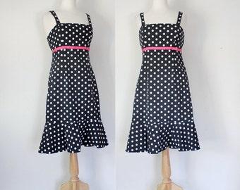 Vintage Dress / Vintage 80s Dress / Vintage Sundress /  Polka Dot Dress / Empire Waist Dress / Black and White / Size Small