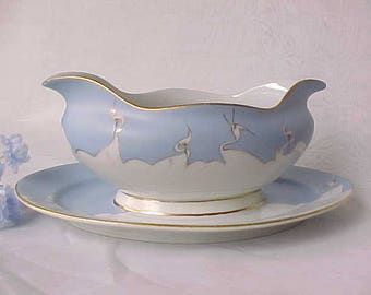 Antique Japan Gravy Boat w/Attached Underplate and Hand Painted White Cranes, Vintage Collectible Nippon Dinnerware