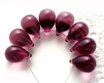 Dark Amethyst Purple czech glass beads, teardrops, large Briolettes, purple drops - 10x14mm - 6Pc - 0392
