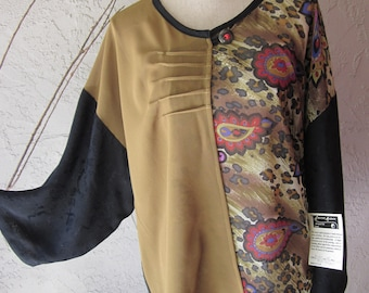 Assymetrical Blouse/ Jacket with Print And Mustard