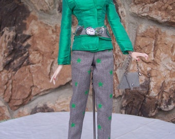 SALE! Jamieshow Girls - Sportswear in Green and Grey with Belt and Purse included