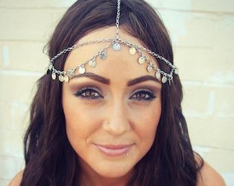 CHAIN HEADPIECE- head chain silver disc chain headdress/headpiece