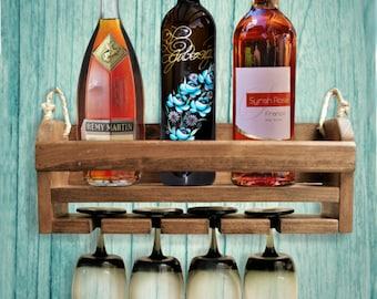 Wall Mount Wine Rack, Rustic Wine Rack, Wall Wine Rack, Hanging Wine Rack, Wine Bottle Holder, Mom Gift Wine Lover Gift, Gift For Mom
