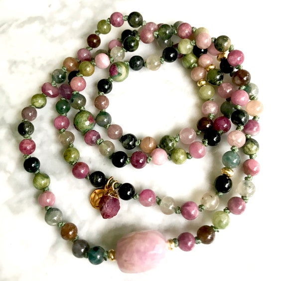 TOURMALINE MALA BEADS 108 Mala Necklace Pink Tourmaline Ruby Bracelet Summer Fashion Lotus Yoga Beads Infinity Necklace Tourmaline Bracelet