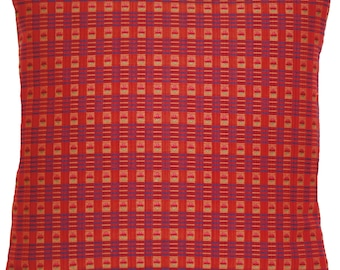 Red Squares Cushion Cover Woven Fabric Marvic Textile Square 16""