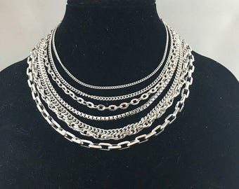 Vintage 50s Multi Strand Siver Tone Necklace | Western Germany