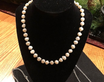 Pearl Necklace, hand knotted, pearls, hand strung.