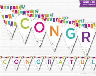 Congratulations Banner Printable Banner Fiesta Party Decor Fiesta Decor Confetti Printable Banner Congrats Banner Congrats Decor Digital