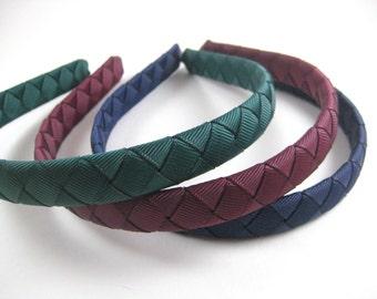 Woven Headband SET - Maroon Headband - Dark Blue Headband - Dark Green Headband - Braided Headbands - Child Toddler Teenager Adult Headband