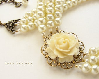 Wedding jewelry, bridal necklace Statement necklace, Ivory Rose triple strands pearls - bridal wedding pearl necklace, custom bridesm