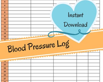 Monthly Blood Pressure Chart - Systolic/Diastolic Blood Pressure Readings - Blood Pressure Numbers - Heart Rate Log - Instant Download