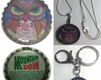 Old Mountain Dew Soda cap OWL Folk Art Drawing Keychain, Pendant, Necklace