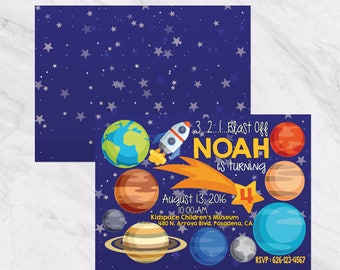 Space Birthday Invitation - Outer Space Party Invitations - Planets - Rocket