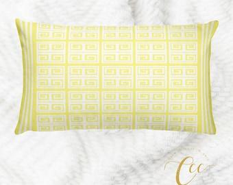 Yellow White Greek Key Pattern Pillow cover,Throw Pillow Cushion Cover, Decorative Pillow Cushion Home Decor